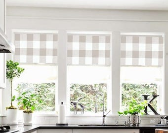 Valance Curtains Buffalo Check Plaid Farmhouse Beige White Tan Drapes Kitchen Dining Room Window Shade Custom Roman Modern