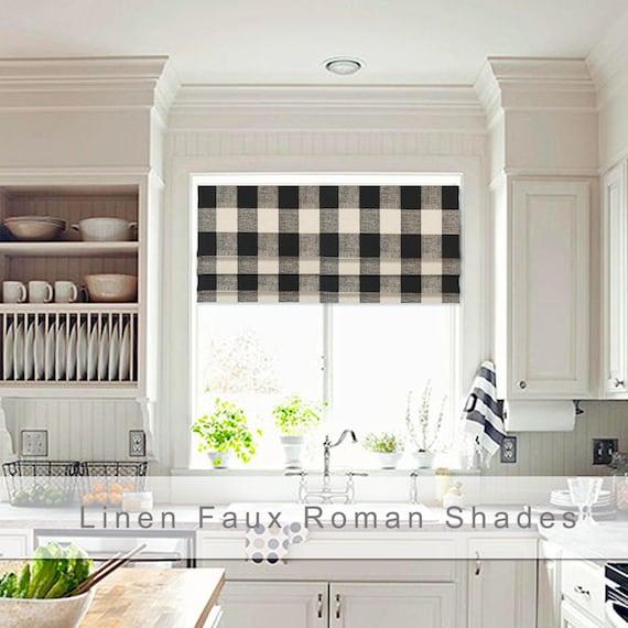Faux Roman Shade Valance Farmhouse Shade Custom Size Etsy