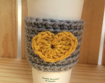Crochet Heart Cozy - Grey and yellow coffee mug - Reusable Coffee Cozy - Yellow Heart - Gift For Her - Coffee Lover Gift - Coffee Cup - Knit