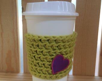 Crochet Coffee Sleeve - Coffee Cozy - Coffee Cup - Gift for Her - Knit Coffee Cozy - Knit Coffee Sleeve - Lime Green Coffee Cozy