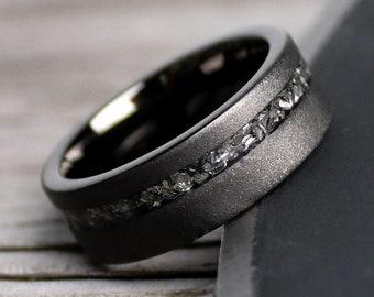 The Black Meteorite, Men's Tungsten Wedding Ring, Tungsten Ring, Black Wedding Band, Tungsten Band, Tungsten Meteorite Band, Black Ring