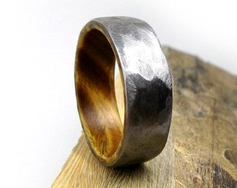 Ironwood Wedding Ring, Titanium Wedding Band, Men's Ring, Women's Ring, Rustic Hammered Ring, Handmade to Order, All Sizes, Made in Colorado
