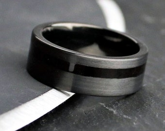 Handmade bog oak wood ring with stainless steel and crushed lapis lazuli inlays on sterling silver core Perfect wood wedding band