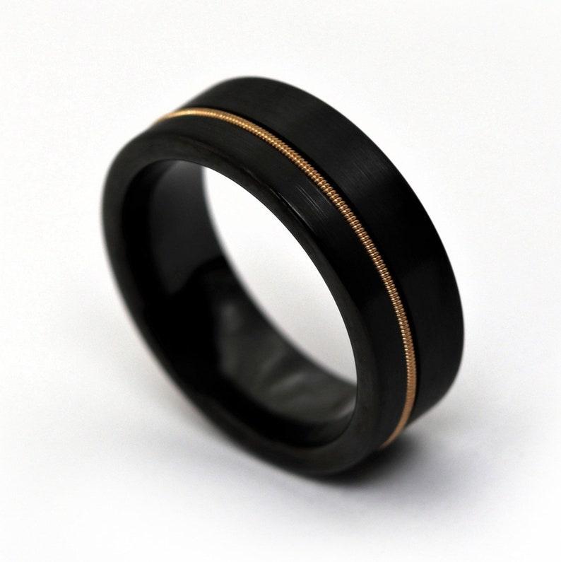 Black Tungsten Ring Guitar String Wedding Band Ring Beveled image 0