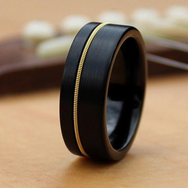 The Rhoads Guitar String Ring Black Ring Wedding Band Ring image 0