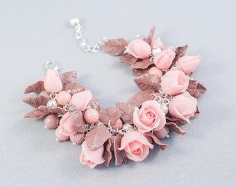 Flower bracelet polymer clay Bracelet with pink roses and brown leaves Flower Charm Bracelet  Polymer Clay Jewelry Floral jewelry for women