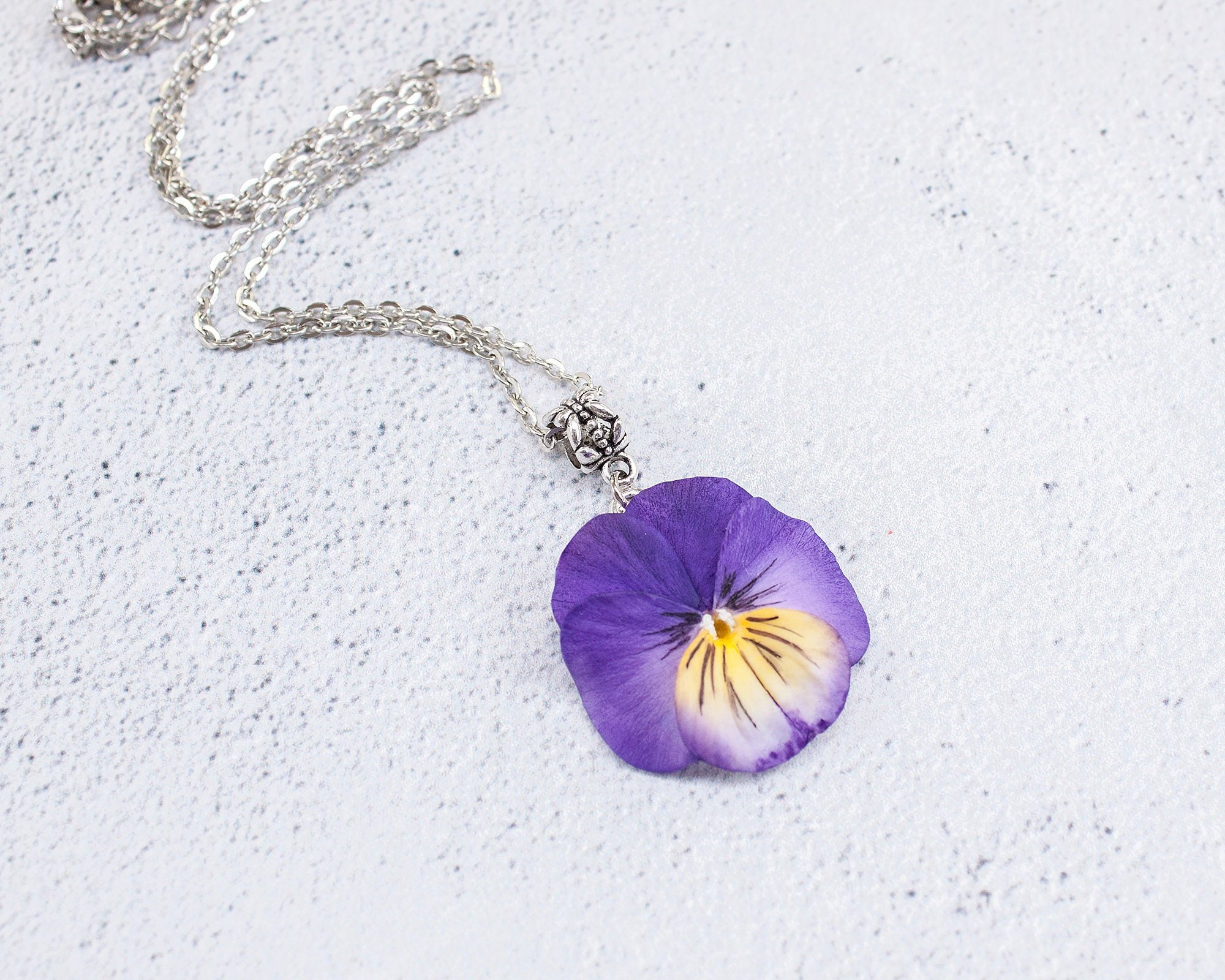 Purple Pansy Pendant Realistic Flower Jewelry Floral Jewelry Etsy