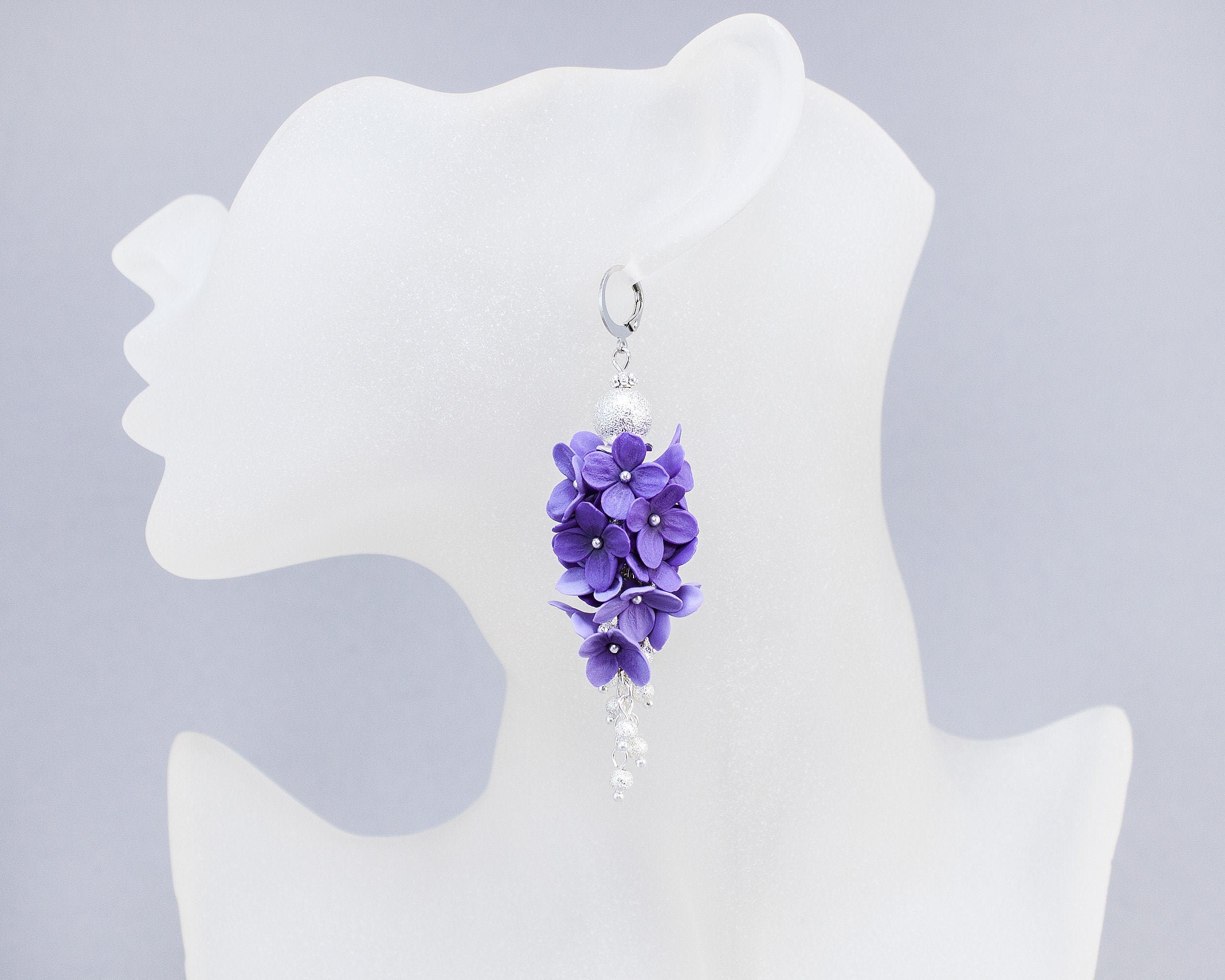 Statement Violet Long Dangle Stud Earrings Polymer Clay Handmade in Canada