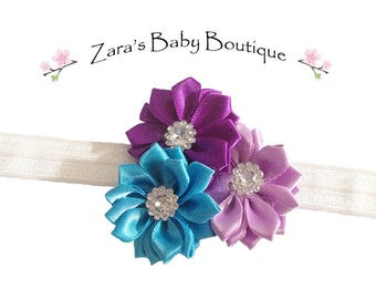 Girls Rainbow Headband * Colorful Headband * Flower Headband * Baby Headband * Red * White * Black * Purple * Blue * Zara's Baby Boutique