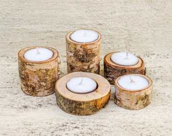 SET OF 5 / Wooden Candle Holders / Tea light Holder / Tree Branch Candle Holders