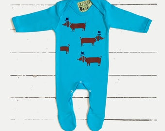 Dog in Hat hand printed baby grow - aqua blue