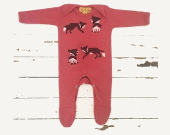 Babygrow Fox print hand printed baby outfit - Heather or sunshine yellow