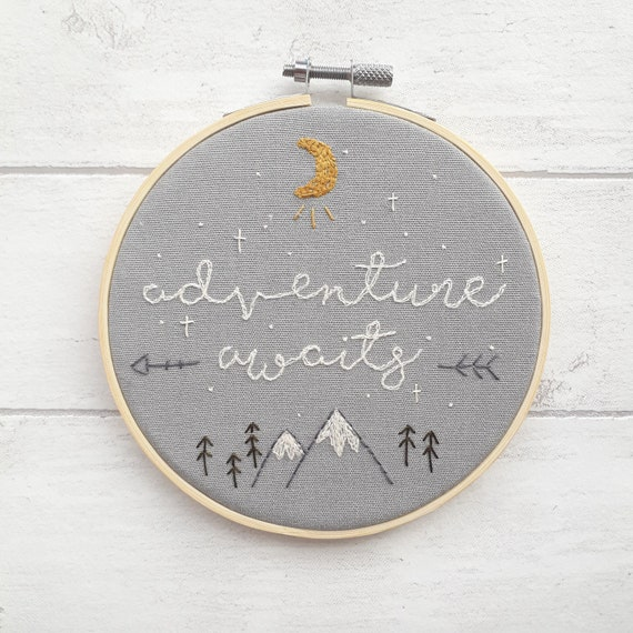 """Adventure awaits - sewn quote in 6"""" embroidery hoop - Perfect as a gift for a little one or to hang in a nursery or playroom"""