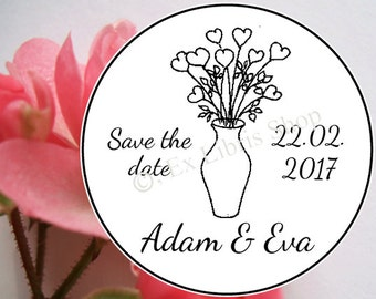 """Custom rubber stamp, wedding stamp """"Bouquet of flowers"""", personalised wedding stamp, name stamp, save the date stamp, wedding, 808"""