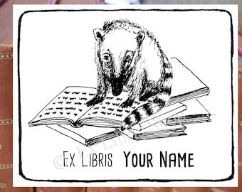 "Bookplate stamp or stickers ""Coati"",  librarian stamp, exlibris stamp, exlibris stickers, personalized exlibris labels, book stamp"