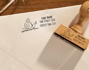 "Return address stamp, ""Snail"", custom address stamp, custom name stamp, personalised address stamp, wooden stamp, rubber stamp, snail mail"