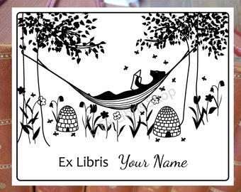 "Exlibris stamp or stickers, ""Bear in hammock"", ex libris stamp, ex libris stickers, custom bookplate, personalised exlibris, library stamp"