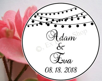 """Personalized wedding stamp """"Fairy lights"""", wedding, wedding DIY, name stamp, personalized stamp, save the date stamp, custom stamp, 855"""