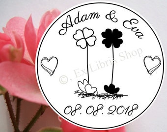 """Personalized wedding stamp """"Four-leaved clover"""", custom wedding stamp, save the date stamp, name stamp, wedding, wedding DIY, stamp, 812"""