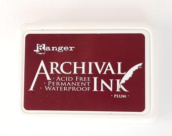 Ink pad Plum, archival ink pad, waterproof ink pad, acid free ink pad, stamp ink, stamp pad, Ranger ink archival ink pad, plum