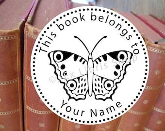 Bookplate stamp •Butterfly•, custom bookplate stamp, exlibris stamp, library stamp, bookplate, stamp, librarian stamp, book stamp, 791
