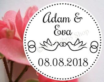 "Personalized wedding stamp ""Pigeons"", custom wedding stamp, save the date stamp, name stamp, wedding, two pigeon stamp, 807"