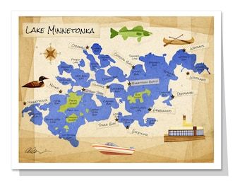 Lake Minnetonka Map Greeting Card