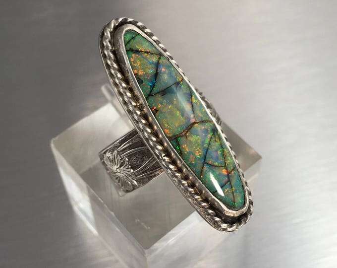 Featured listing image: Long Monarch Opal ring, Sterling Silver band, Dinner or Cocktail Ring