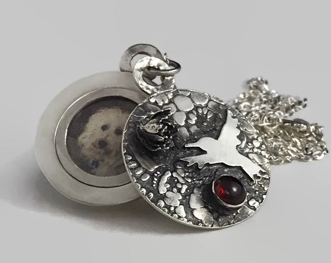 Featured listing image: Handmade Hummingbird Locket, January Birthstone Garnet, Sterling Silver, Fitted Frame