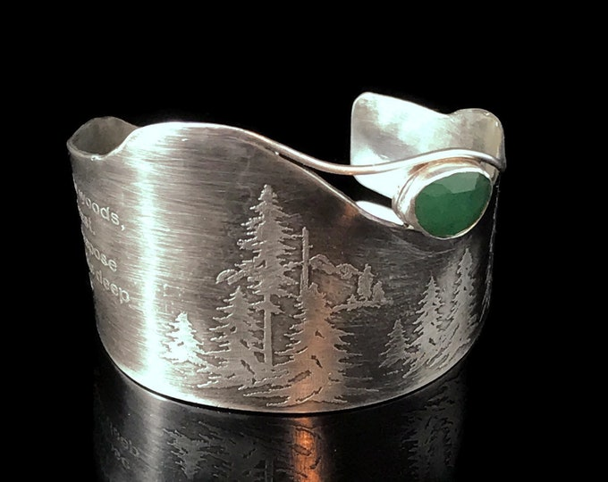 Featured listing image: Wide sterling silver cuff bracelet, Forest theme, Faceted green Aventurine, John Muir quote