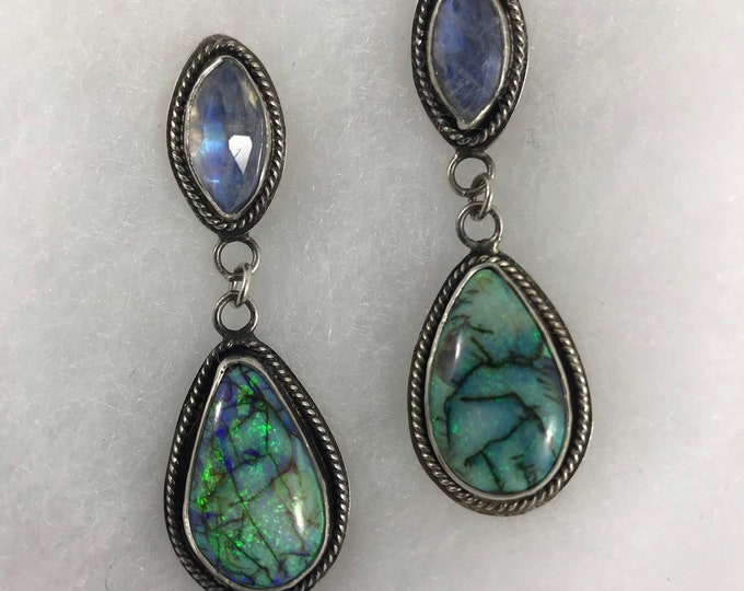 Featured listing image: Monarch Opal & Moonstone Earrings, Handmade, One of a Kind Hard to Find Monarch Opals