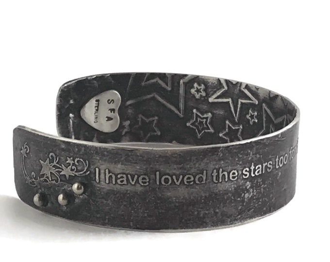 Featured listing image: Astronomy Cuff Bracelet, stars, sterling silver, Sara Williams Astronomer Poem quote FREE SHIP