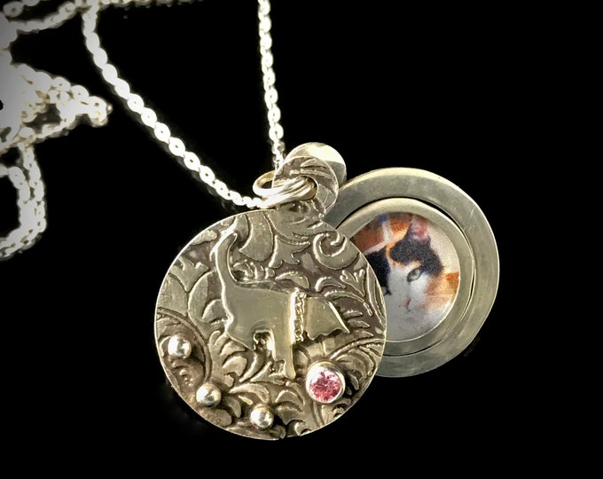 Featured listing image: Sweet Kitten or Cat Photo Locket, Handmade, Sterling Silver with fitted frame