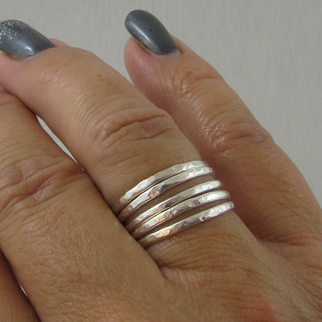 Sterling Silver Stacking Rings set of 5 Medium Size Hammered Stacking Rings