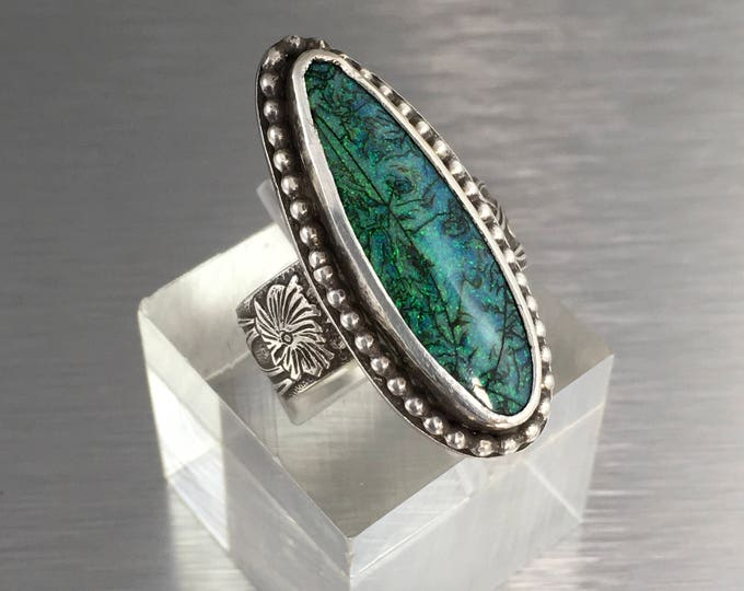 Featured listing image: Gorgeous Blue Monarch Opal Ring Teardrop Shape with wide sterling silver embossed band Cultured Opal Monet Opal Ring