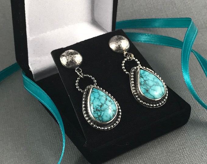 Featured listing image: Rare Number 8 Mine Spiderweb Turquoise and Sterling Silver earrings handcrafted
