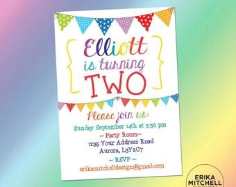Rainbow Birthday Invite // DIGITAL FILE // CUSTOM Birthday Invitations