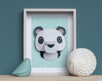 Panda - Creative Kit DIY animal trophy in paper