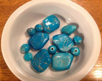 Beads lot-acrylic  turquois assortment with gold splatter