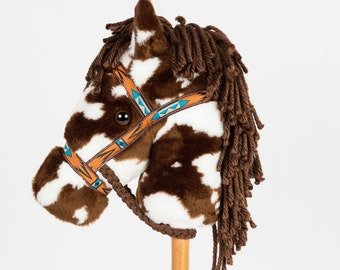 Brown & White Paint Stick Horse-Stick Pony- Hobby Horse
