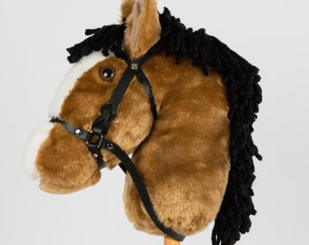 Snowy Mountain Ponies - Buckskin Stick Horse with Leather Bridle - Stick Pony - Hobby Horse