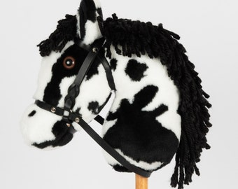Snowy Mountain Ponies - Black Paint Stick Horse with Leather Bridle - Stick Pony - Hobby Horse