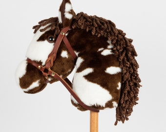 Snowy Mountain Ponies - Brown Paint Stick Horse with Leather Bridle - Stick Pony - Hobby Horse
