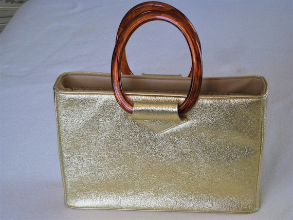 Vintage Gold Lame Ladies Handbag Purse Lucite Hand