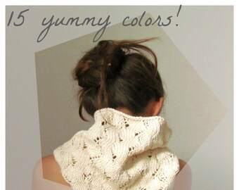 Cream Ivory scarf / Knit cowl / Vegan scarf / Cotton scarf / romantic clothing