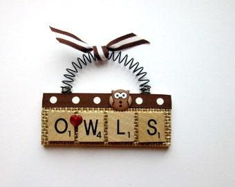 Love Owls Scrabble Tile Ornaments