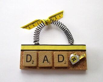 Dad Measuring Tape DiY Scrabble Tile Ornaments
