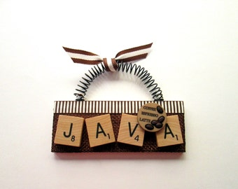 Java Mocha Coffee Latte  Scrabble Tile Ornament
