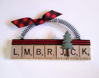Logger Lumberjack Scrabble Tile Ornament