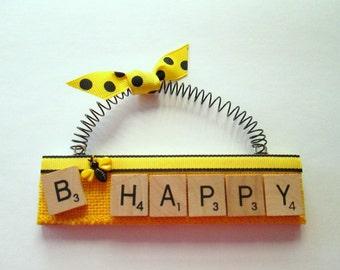 B Happy Scrabble Tile Ornament